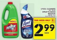 Lysol Cleaners Or Spray'n Wash Resolve