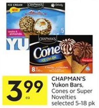 Chapman's Yukon Bars - Cones or Super Novelties Selected 5-18 Pk