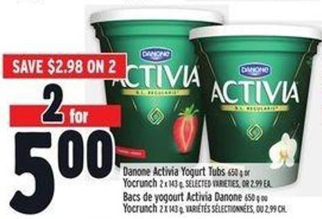 Danone Activia Yogurt Tubs 650 g or Yocrunch 2 X 143 g