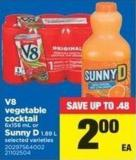 V8 Vegetable Cocktail - 6x156 Ml Or Sunny D - 1.89 L