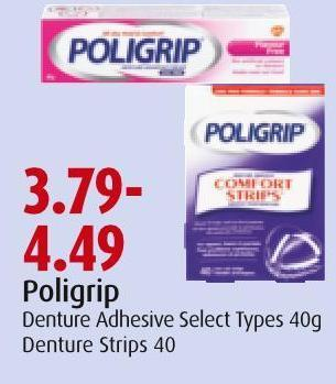 Poligrip Denture Adhesive Select Types 40g Denture Strips 40