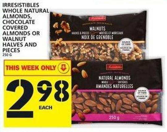 Irresistibles Whole Natural Almonds - Chocolate Covered Almonds Or Walnut Halves And Pieces