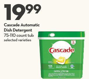 Cascade Automatic Dish Detergent 75-110 Count Tub