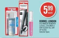 Rimmel London Eye Makeup Remover (125ml) - Eyeliner or Stay Glossy All Day Lip Gloss