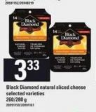 Black Diamond Natural Sliced Cheese - 260/280 g