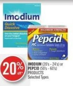 Imodium (20's - 24's) or Pepcid (50's - 60's) Products