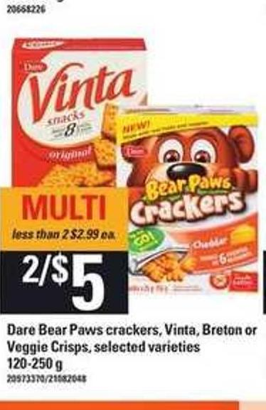 Dare Bear Paws Crackers - Vinta - Breton Or Veggie Crisps - 120-250 g