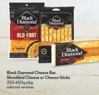 Black Diamond Cheese Bar -  Shredded Cheese or Cheese Sticks 252-450g Pkg
