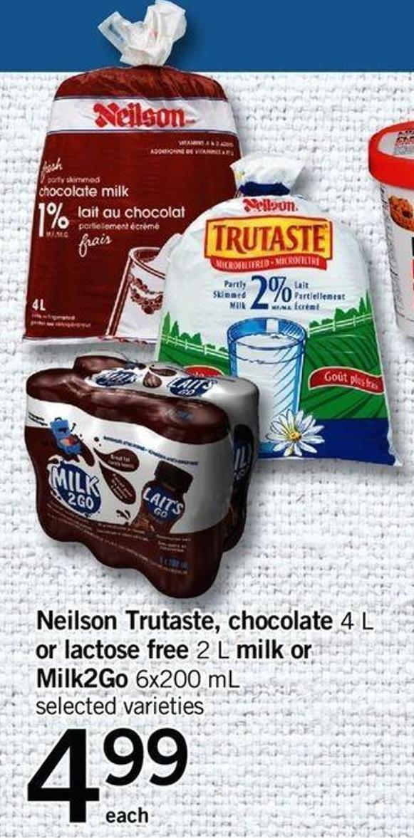 Neilson Trutaste - Chocolate 4 L Or Lactose Free 2 L Milk Or Milk2go - 6x200 Ml