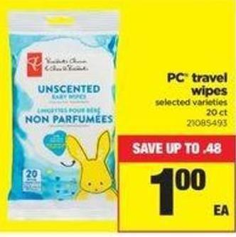 PC Travel Wipes - 20 Ct