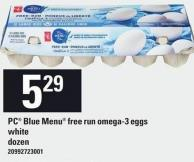 PC Blue Menu Free Run Omega-3 Eggs White - Dozen