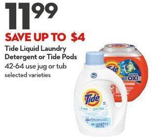Tide Liquid Laundry  Detergent or Tide Pods 42-64 Use Jug or Tub