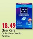 Clear Care Contact Lens Solution 2x360ml