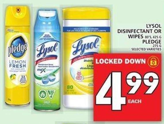 Lysol Disinfectant Or Wipes Or Pledge