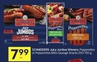 Schneiders Juicy Jumbos Wieners - Pepperettes or Pepperettes Bites Sausage Snacks 250-750 g