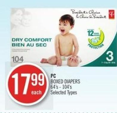 PC Boxed Diapers 64's - 104's