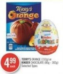 Terry's Orange (152g) or Kinder Chocolate (80g - 182g)