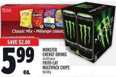 Monster Energy Drinks 4 X 473 ml or Frito-lay Multipack Chips 18 X 28 g