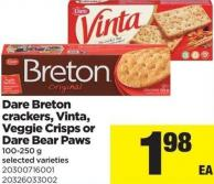 Dare Breton Crackers - Vinta - Veggie Crisps Or Dare Bear Paws - 100-250 g