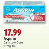 Aspirin Daily Low Dose 81mg 180