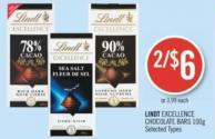 Lindt Excellence Chocolate Bars 100g