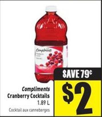 Compliments Cranberry Cocktails 1.89 L
