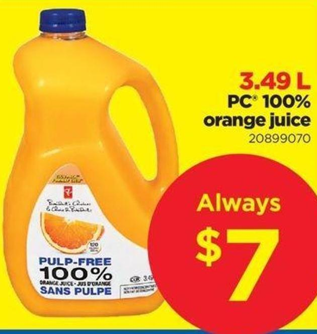 PC 100% Orange Juice - 3.49 L
