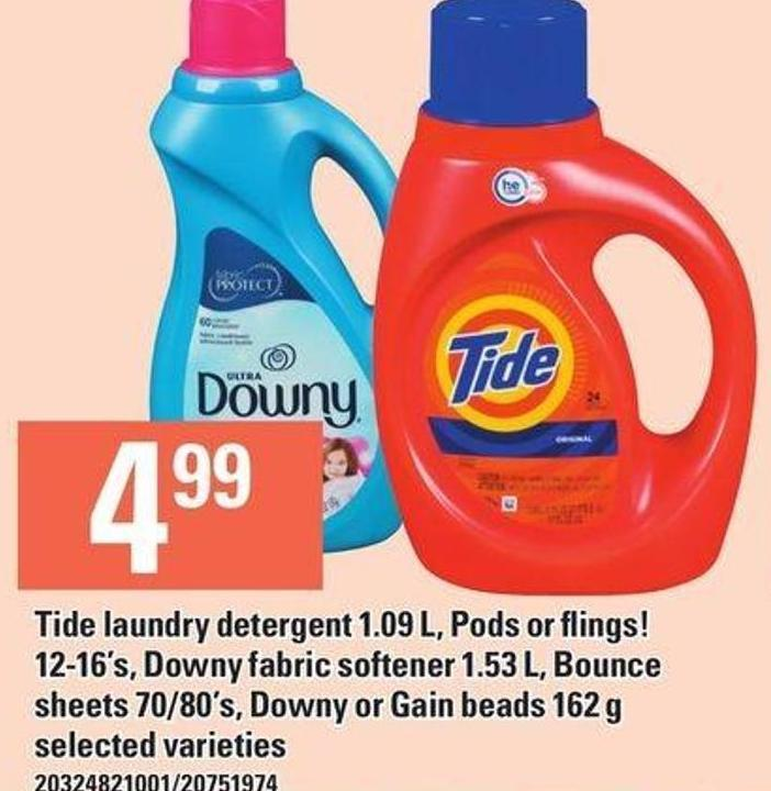Tide Laundry Detergent 1.09 L - PODS Or Flings! 12-16's - Downy Fabric Softener 1.53 L - Bounce Sheets 70/80's - Downy Or Gain Beads 162 g