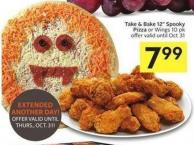 Take & Bake 12in Spooky Pizza or Wings 10 Pk