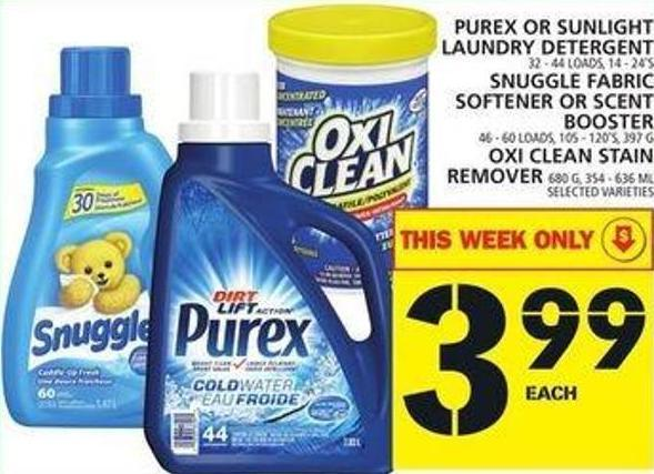 Purex Or Sunlight Laundry Detergent Or Snuggle Fabric Softener Or Scent Booster Or Oxi Clean Stain Remover