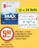 PC (9 Roll - 12 Roll) or PC Green (12 Roll) Bathroom Tissue