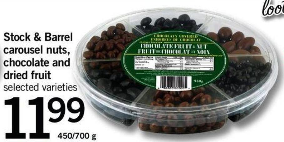 Stock & Barrel Carousel Nuts - Chocolate And Dried Fruit - 450-700 g