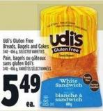 Udi's Gluten Free Breads - Bagels And Cakes 340 - 406 g