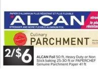 Alcan Foil 50 Ft - Heavy Duty or Nonstick Baking 25-30 Ft or Paperchef Genuine Parchment Paper 41 Ft