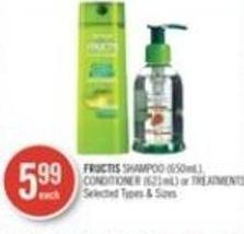 Fructis Shampoo (650ml) - Conditioner (621ml) or Treatments