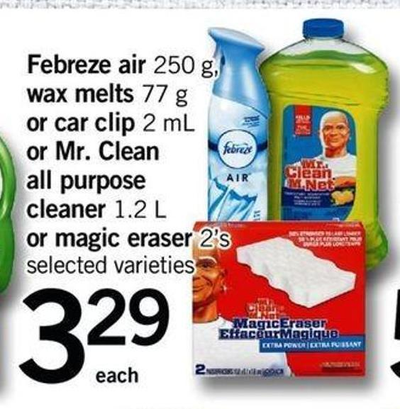 Febreze Air - 250 G - Wax Melts - 77 G Or Car Clip - 2 Ml Or Mr. Clean All Purpose Cleaner - 1.2 L Or Magic Eraser - 2's