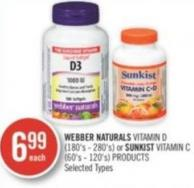 Webber Naturals Vitamin D (180's - 280's) or Sunkist Vitamin C (60's - 120's) Products