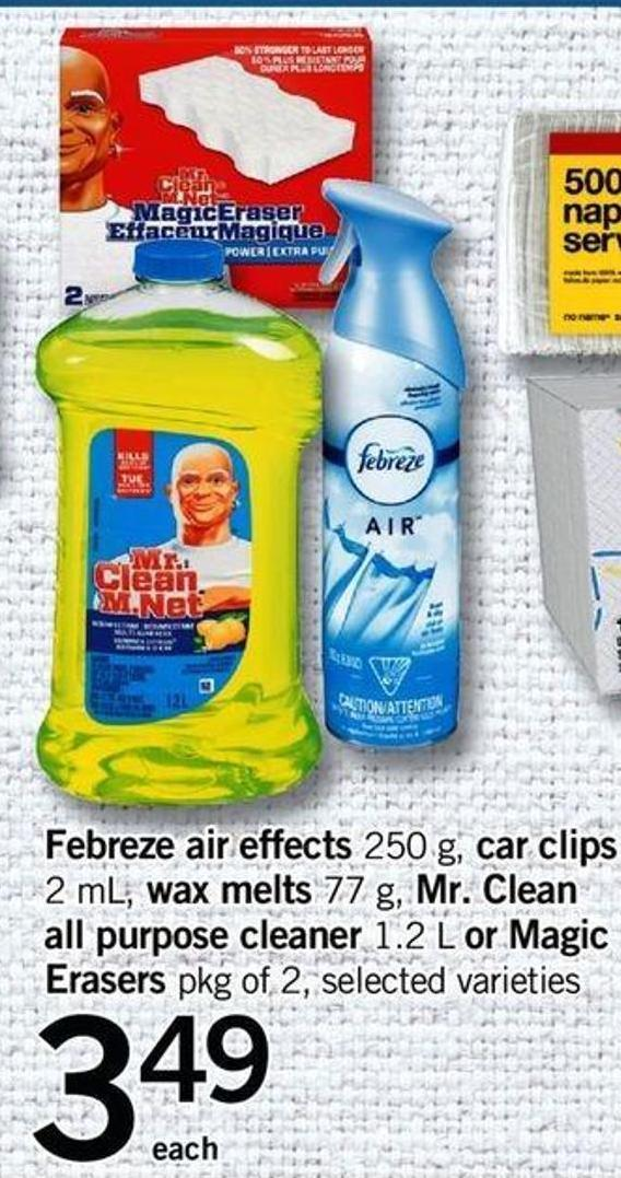 Febreze Air Effects 250 G - Car Clips 2 Ml - Wax Melts 77 G - Mr. Clean All Purpose Cleaner 1.2 L Or Magic Erasers Pkg Of 2