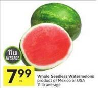 Whole Seedless Watermelons Product of Mexico or USA 11 Lb Average