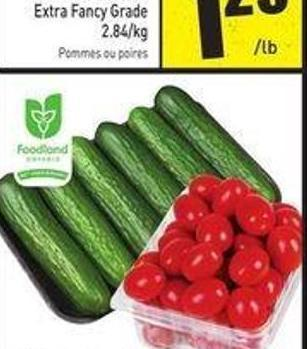 Pint Grape Tomatoes Product of Ontario 6 Pack Mini Seedless Cucumbers - Product of Ontario - Canada No. 1