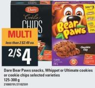 Dare Bear Paws Snacks - Whippet Or Ultimate Cookies Or Cookie Chips - 125-300 G