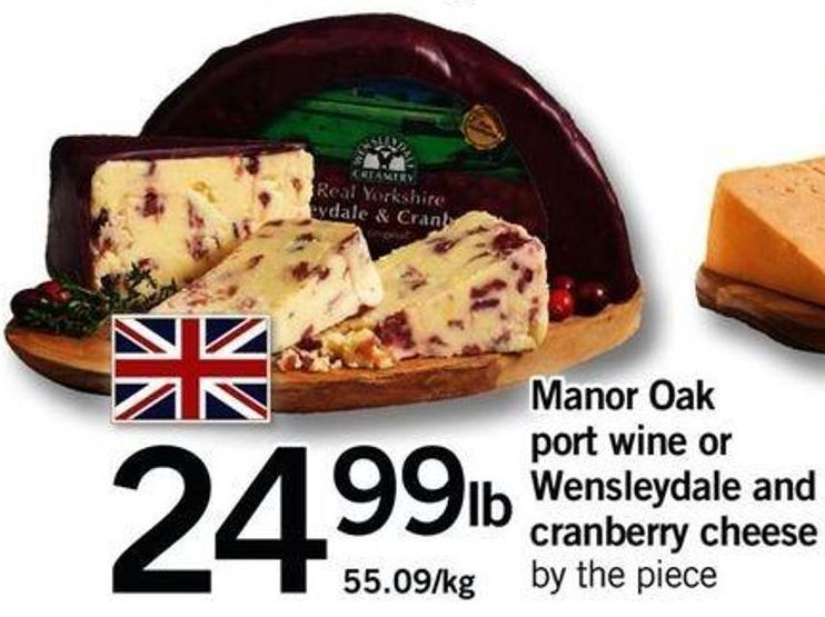 Manor Oak Port Wine Or Wensleydale And Cranberry Cheese
