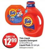 Tide Liquid Laundry Detergent 2.72-2.95 L or Liquid Pods 32-64 Pk