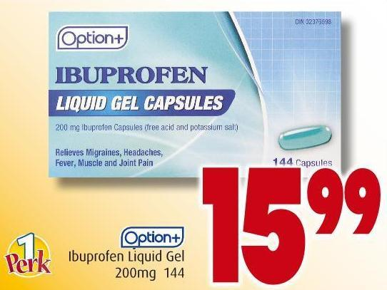 Option+ Ibuprofen Liquid Gel 200mg 144
