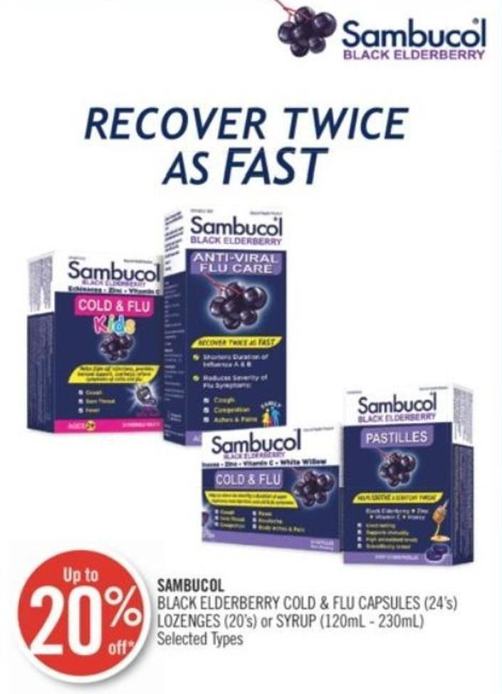 Sambucol Black Elderberry Cold & Flu Capsules (24's) - Lozenges (20's) or Syrup (120ml - 230ml)
