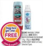 Secret Invisible Spray (132ml) - Dove Men's Antiperspirant/deodorant (76g - 85g) or Old Spice Hydro Body Wash (473ml)