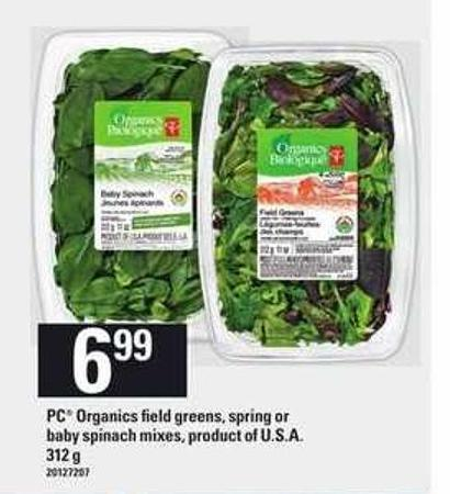 PC Organics Field Greens - Spring Or Baby Spinach Mixes - 312 g
