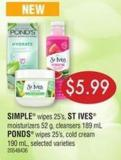Simple Wipes 25's - St Ives Moisturizers 52 G - Cleansers 189 Ml Ponds Wipes 25's - Cold Cream 190 Ml