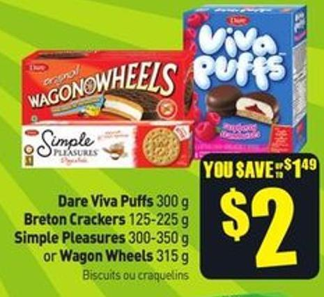 Dare Viva Puffs 300 g Breton Crackers 125-225 g Simple Pleasures 300-350 g or Wagon Wheels 315 g