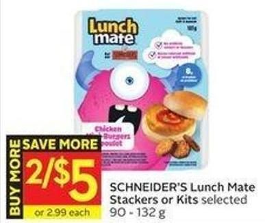 Schneider's Lunch Mate Stackers or Kits Selected 90 - 132 g